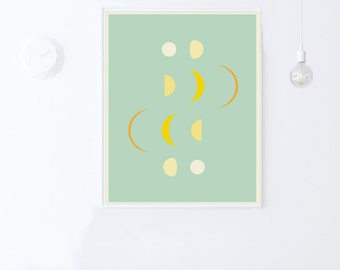 Mint Green Nursery Printable Wall Art Print-Moon Phases Decor-Moon Phases Print-Mint Green Wall Art-Mint Green Decor-INSTANT DOWNLOAD 16x20