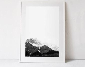 Mountain Art Print, Mountain Print, Minimalist Decor Black and White Poster, Mountain Photography, Mountain Printable Art DOWNLOADABLE PRINT