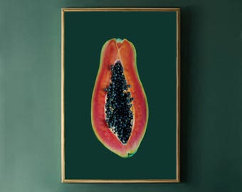 Papaya Print, Dark Green Printable Art Print, Fruit Print, Papaya Poster Print, Digital Download Photography, Tropical Fruit Digital Print