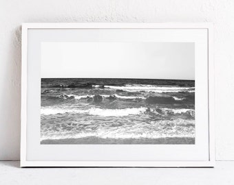 Ocean Print, Beach Print, Minimalist Black and White Print, Landscape Print Ocean Waves Printable Art Print DIGITAL DOWNLOAD Photography