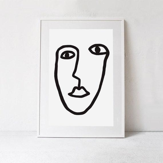 Ligne Art Print Dessin Au Trait Visage Affiche Noir Et Blanc Visage Impression Numérique Impression Dart Instantané Télécharger Digital Art