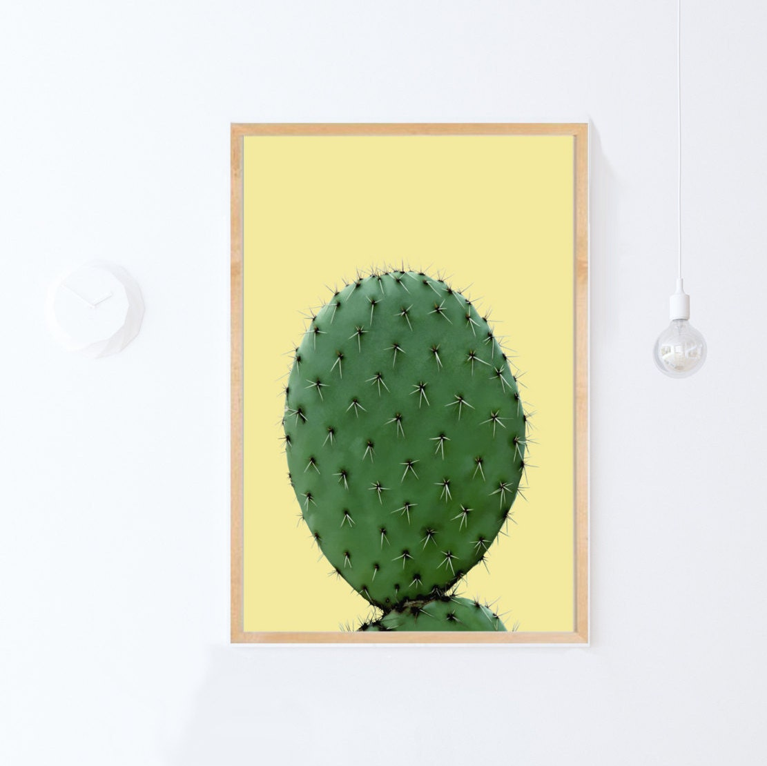 Yellow Wall Decor Print Cactus Art Large Poster Download | Etsy