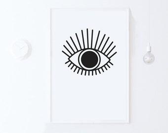 INSTANT DOWNLOAD Printable Art, Dorm Decor Modern Wall Art Print, Eye Print Eye Poster Black and White Nursery Art, Modern Digital Print