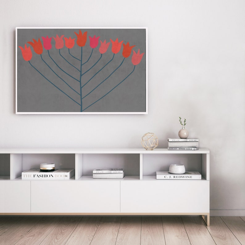 wall art Grey Red and pink downloadable art print Abstract Flower: Scandi Modern Poster Floral Printable Art Modern Boho Decor Boho Art