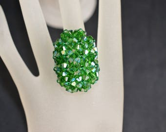 Swarovski crystal ring big hedgehog elongated dark moss green ab