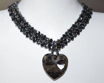 Swarovski crystal necklace hematite 2x-heart 28 mm crystal silver night