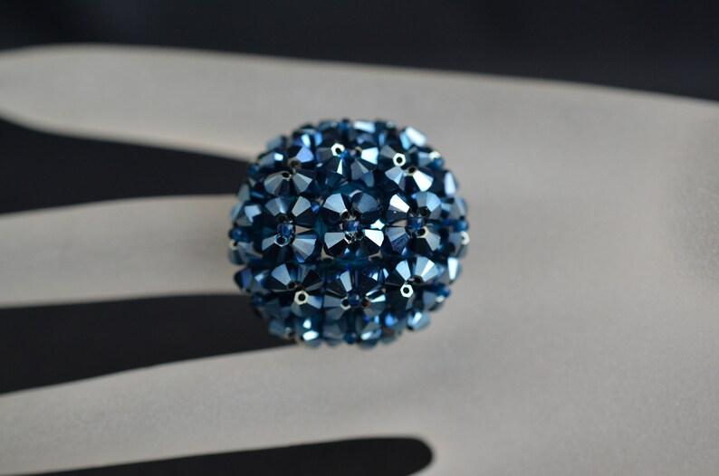 670dbf4c07978 Swarovski crystal ball ring metallic blue 2x