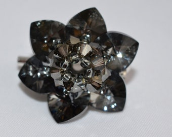 Crystal brooch night flower Swarovski crystal silver night
