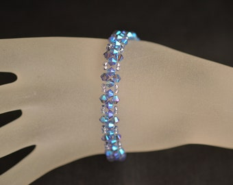 Swarovski crystal bracelet end tanzanite ab2x