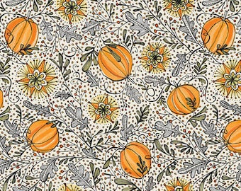 Best Day Ever - Enchanted Pumpkins Grey - by Cori Dantini - Blend Fabrics - 100% Premium Cotton Fabric