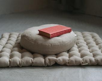 Meditation Set Zafu & Zabuton with Buckwheat hulls Linen Floor cushions Meditation pillow Meditation cushion Meditation pouf PillowSeat Yoga