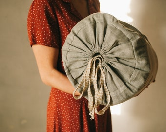 Thick HEMP Sleeping bag in washed linen fabric- organic hemp fiber filling + linen non-dyed fabric - blanket quilt, hand made