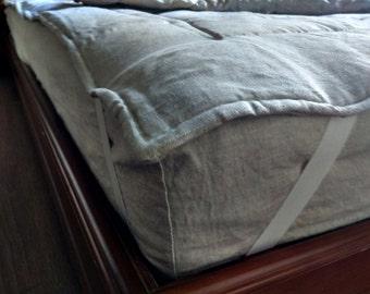 Organic Hemp Linen Mattress Pad Cover filled Hemp Fiber  in 100% non-dyed linen /Queen Full, Twin, King size/ Hypoallergenic Chemical Free