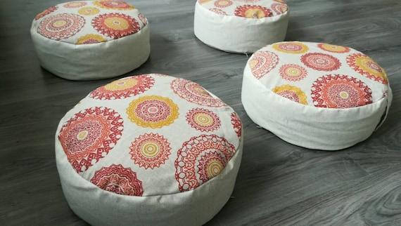 Set van zafus organische hennep vloer kussens met boekweit etsy
