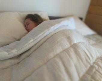 White Organic HEMP Linen comforter  blanket quilt duvet - linen fabric with organic Hemp fiber filler  Full Twin size Duvet insert