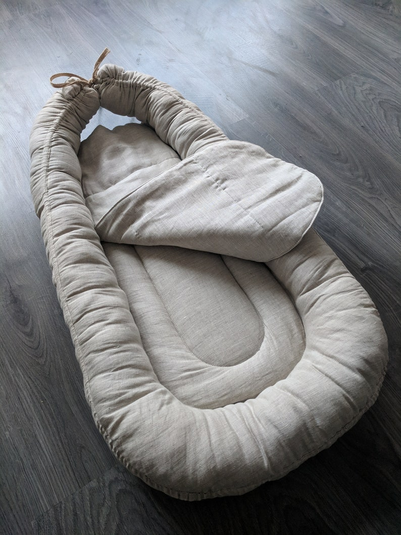 Hemp Baby Nest in linen non-dyed fabric non toxic Sleeping bag newborn Cocoon with  removable pad Hemp fiber filler inside