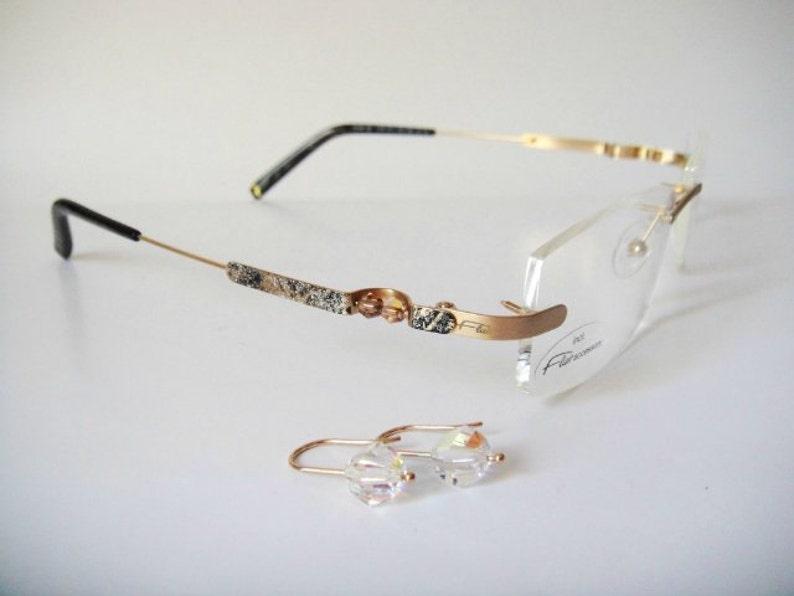 113bb7e2414a Flair Eyeglass Swarovski Earrings Art Couture Gold Jewelry   Etsy