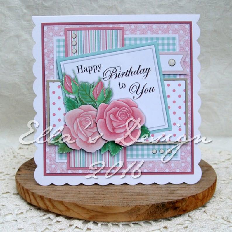 Rose predesigned card kit image 0