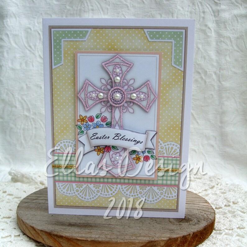Easter cross predesigned card kit image 0