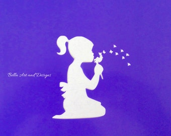 Pretty Girl Silhouette with flower stencils  (Price is per size) -  *Free gift with every order*