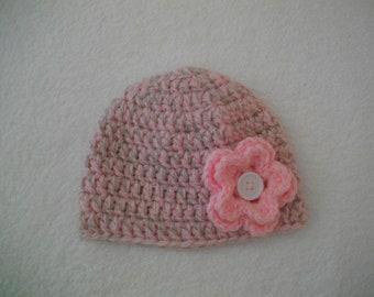 Bonnet bébé fille enfant bonnet nouveau né crochet fait main accessoire  coiffure cadeau naissance anniversaire gris rose hiver laine 014a6722352