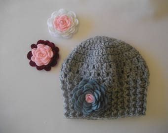 77c72013bf7 pink heart baby hat in gray wool