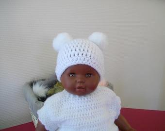 0d913deff091 Bonnet bébé fille baptême cérémonie fêtes mariage 2 pompons bonnet nouveau  né prématuré laine hiver accessoire coiffure cadeau naissance
