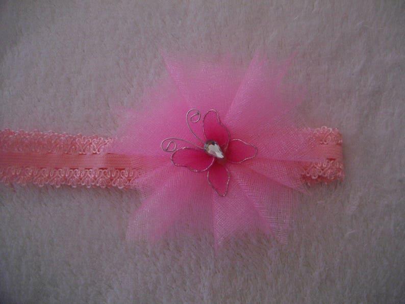 headband wedding ceremony tulle organza Butterfly headband lace headband headband headband pink headband. Kids baby girl headband
