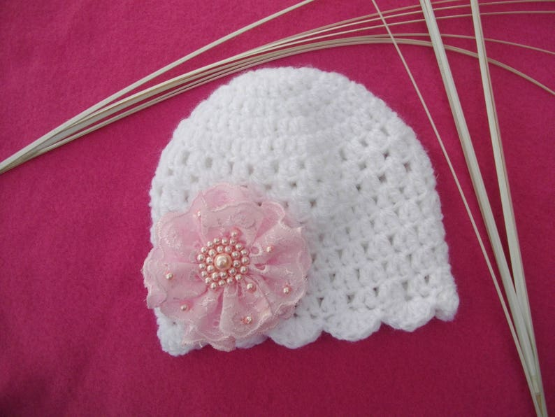 9e8e687422a Beanie baby girl baptism crocheted by hand in white and pink