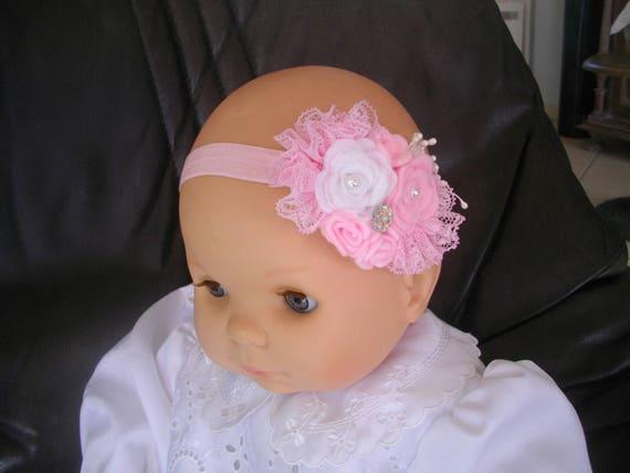 bandeau bébé fille enfant bandeau baptême mariage cérémonie fêtes,bébé bandeau feutrine dentelle,bandeau bébé fait main,bébé bandeau perles