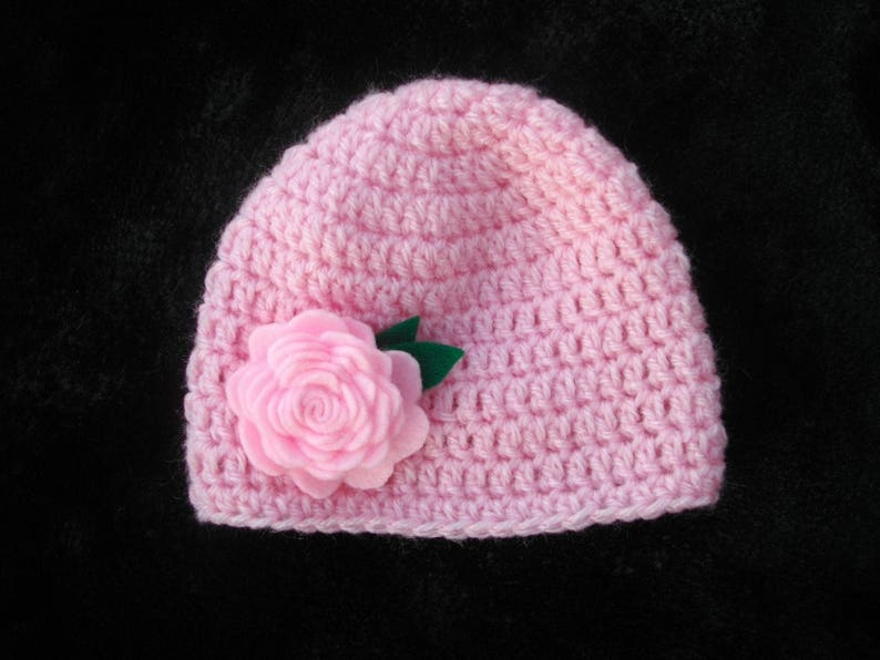 bebefille baptism and baby girl Hat hand crocheted in rose for baptism ceremony wedding parties pink flower tone on tone