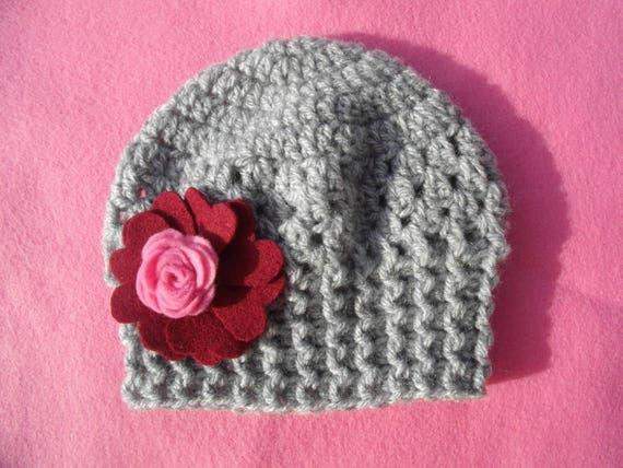 ceremony photo accessory hair pink and white hand made crochet yarn wedding parties Beanie baby girl christening