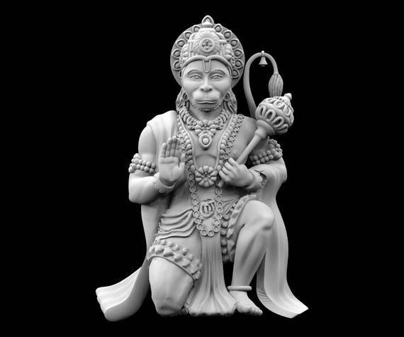 stl file of hanuman kneeling idol for 3d printing etsy