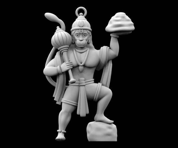 stl file of hanuman jewelry pendant for 3d printing etsy