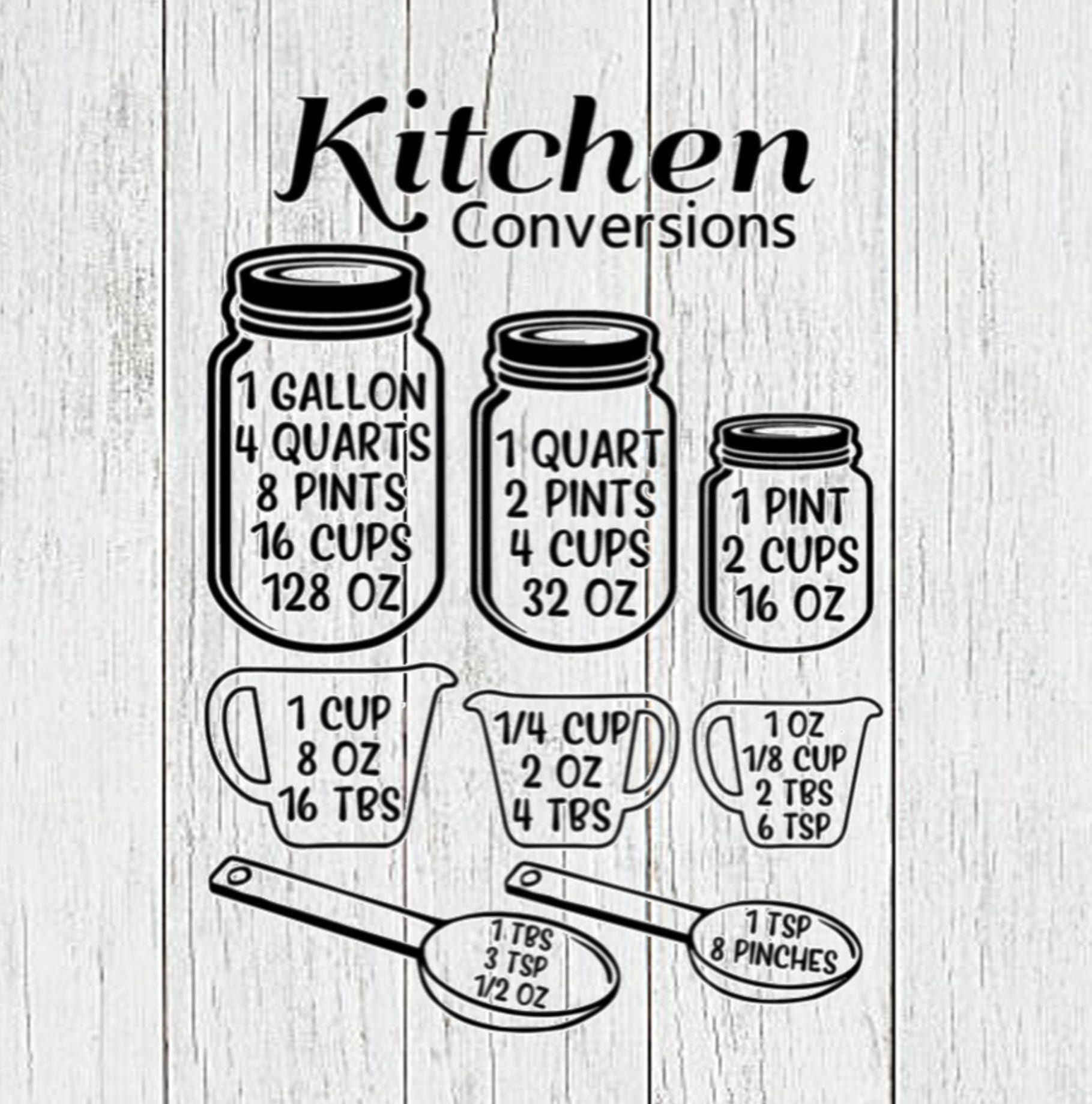 Download Kitchen Conversion Chart SVG Kitchen measurement SVG ...