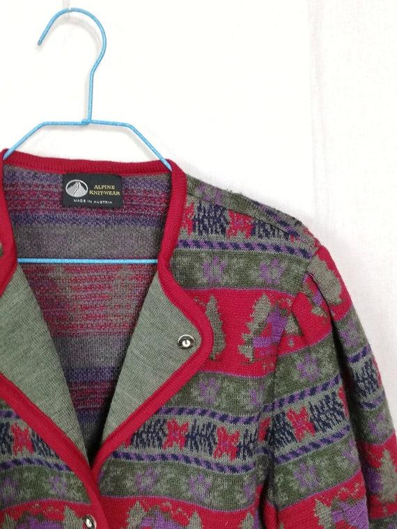 Austrian vintage Austrian cardigan jacket 80 mult… - image 4