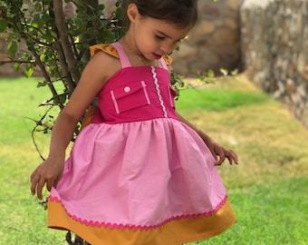 Girl's Rescue Dog Dress , Rescue Dog Costume , Pink Rescue Dog Dress , Girl's Cartoon Costumes , Girl's Dog Costume , Girl's Pink Dog Dress