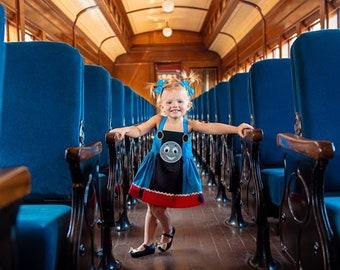 Girl's Train Inspired Dress, Girl's Train Character Dress, Girl's English Train Costume, Train Costume, Girl's Railroad Engine Dress