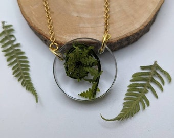Fiddlehead necklace, fern pendant, fern spiral, pressed leaf necklace