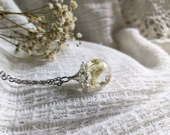 Baby's Breath Pendant, baby's breath necklace, pressed flower necklace, dried flower keepsake, bridal necklace, baby memento