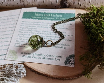 Moss Terrarium Necklace, Moss Globe, Symbolic gift for Strength, Ball Pendant,  Antique Brass, Lichen Woodland Forest, Gnome home