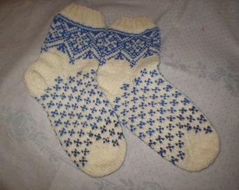 Mens socks white and blue