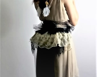 Tie on embroidered cream and black lace layered bustle with three bows and  double train- Boho 0b7216bab