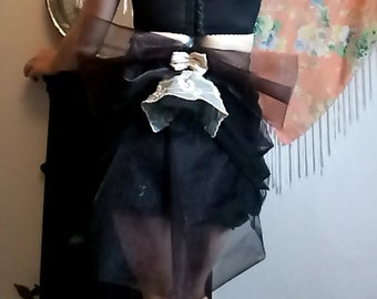 Tie on embroidered black and cream lace layered bustle with large feature  bow and double train- Burlesque 47271444f