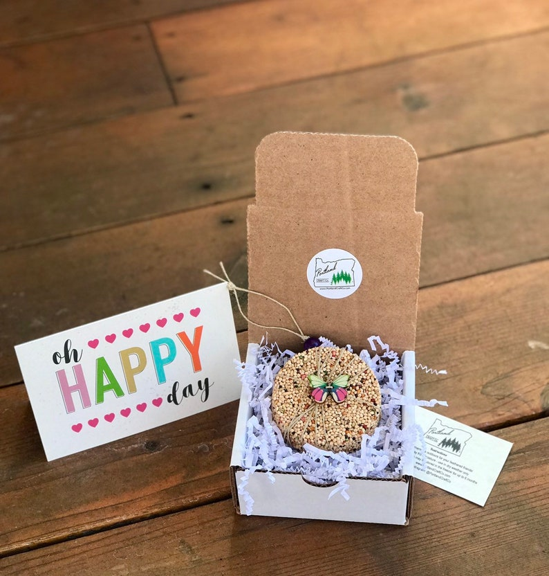 Oh Happy Day  Gift Box  Personalized bird seed ornament image 0