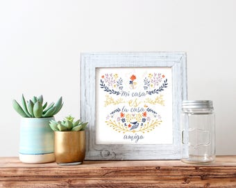 Mi casa • Carte carrée • Carte de bienvenue • Message positif • Cartes recto/verso • Motif floral • Typographie • Pensée positive • 12x12 cm