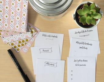 Kit papeterie pour Bocal à bonheur Pot de gratitude • Papiers à motifs • Cadeau famille • Couleurs douces et motifs géométriques