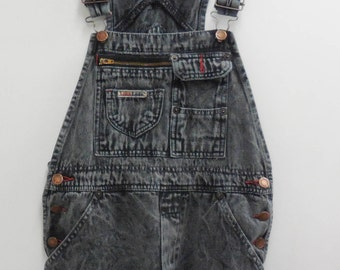 476f8ea684 Upcycled Women s London Vintage Black Bleached Wash Denim Cut of Overalls  Small