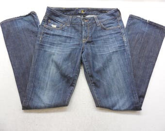 30c2dca1ed2 Womens Lucky Brand Distressed Dark Wash Denim Lola Boot Cut Jeans Size 4 /  27