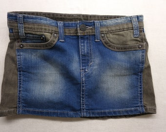 "Upcycled Levi's Womens Medium Blue Wash Gray Colorblock Denim Jean Mini Skirt Size 27"""